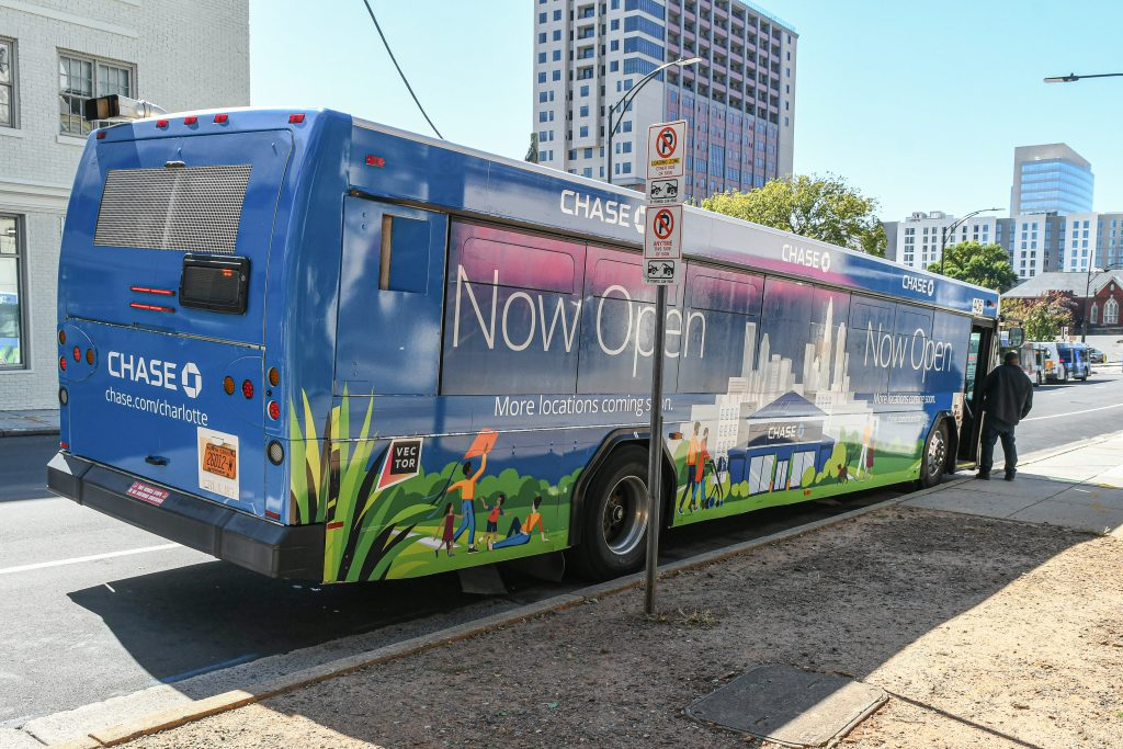 Chase Bank Full Wrap Advertising on a Public Transit Bus In Charlotte North Carolina - Rear Angle