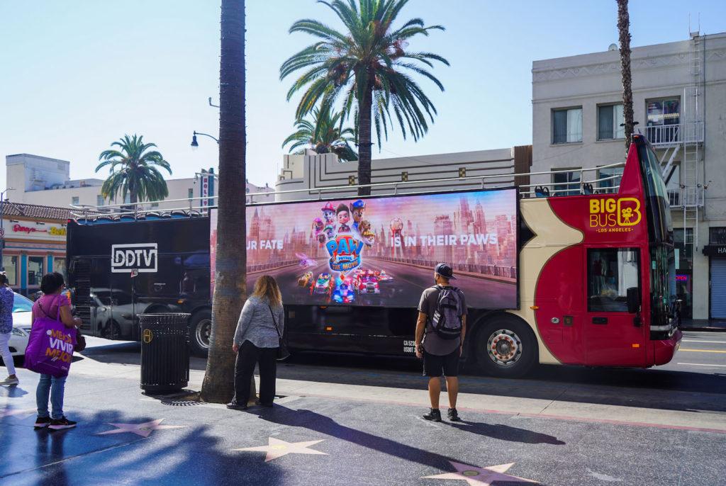 LA DDTV Digital bus ad for paw patrol on Paramount Plus