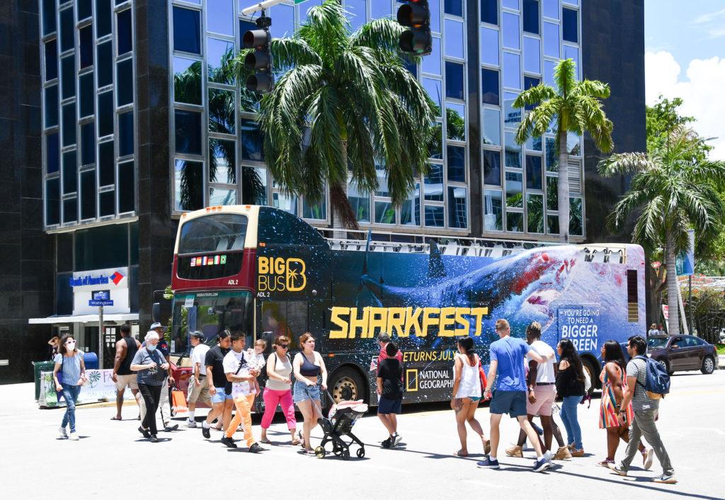 Illuminated Double Decker Bus Advertising in Miami Beach for Nat Geo Sharkfest