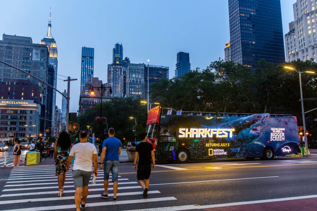 Illuminated Double Decker Bus Advertising in NYC for Nat Geo Sharkfest